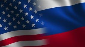 Los E.E.U.U. contra Bandera de Rusia que agita 3d abstraiga el fondo Animación del lazo