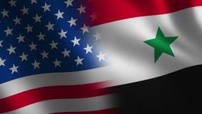 Los E.E.U.U. contra Bandera de Siria que agita 3d abstraiga el fondo Animación del lazo