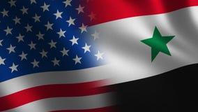 Los E.E.U.U. contra Bandera de Siria que agita 3d transición Alpha Channel