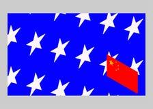 Los E.E.U.U. contra China Bandera china y bandera americana stock de ilustración