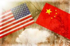 Los E.E.U.U. contra China Concepto de la guerra comercial imagen de archivo