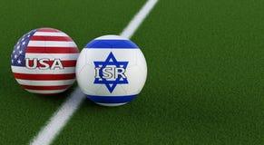 Los E.E.U.U. contra Israel Soccer Match - balones de fútbol en los E.E.U.U. y colores nacionales de Israel en un campo de fútbol ilustración del vector