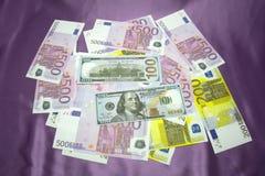 Los E.E.U.U. 100 200 500 euros Imagen de archivo