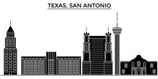 Los E.E.U.U., horizonte de la ciudad del vector de la arquitectura de Texas San Antonio, paisaje urbano del viaje con las señales Imágenes de archivo libres de regalías