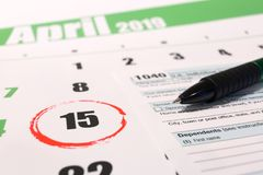 Los E.E.U.U. impuesto día 15 de abril de 2019 fotos de archivo libres de regalías