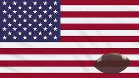 Los E.E.U.U. señalan agitar por medio de una bandera y la bola del fútbol americano gira, lazo libre illustration