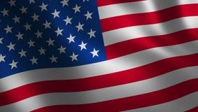 Los E.E.U.U. señalan 3d por medio de una bandera que agita abstraiga el fondo Animación del lazo