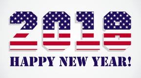 Los E.E.U.U. señalan 2018 Felices Año Nuevo por medio de una bandera Imagen de archivo