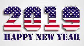 Los E.E.U.U. señalan 2019 Felices Año Nuevo por medio de una bandera Foto de archivo libre de regalías