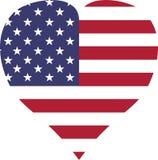 los E.E.U.U. señalan la forma roja blanca del corazón por medio de una bandera de las rayas ilustración del vector