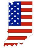 Los E.E.U.U. señalan por medio de una bandera combinado con el mapa del estado federal de los E.E.U.U. de Indiana libre illustration