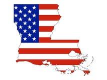Los E.E.U.U. señalan por medio de una bandera combinado con el mapa del estado federal de los E.E.U.U. de Luisiana stock de ilustración
