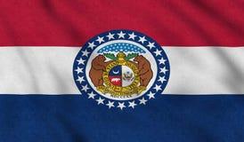 Los E.E.U.U. señalan por medio de una bandera de Missouri que agita suavemente en el viento ilustración del vector