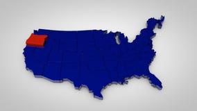 Los E.E.U.U. trazan con Oregon 3d highlited mapa rinden libre illustration