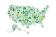 Los E.E.U.U. trazan iconos del concepto del verde de la protección del medio ambiente ilustración del vector