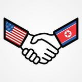 Los E.E.U.U. y banderas del apretón de manos de Corea del Norte planas stock de ilustración