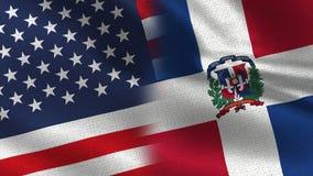 Los E.E.U.U. y banderas realistas de la República Dominicana medias junto ilustración del vector