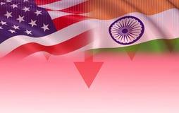 Los E.E.U.U. y exportación los Estados Unidos de América de la economía de la guerra de comercio de la India libre illustration