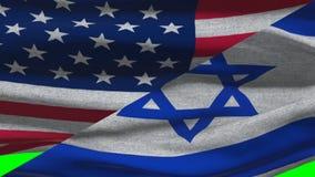 Los E.E.U.U. y Israel Waving Flags On una pantalla verde ilustración del vector