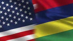 Los E.E.U.U. y Mauritius Realistic Half Flags Together stock de ilustración