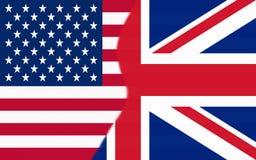 Los E.E.U.U. y medias banderas BRITÁNICAS junto fotografía de archivo libre de regalías