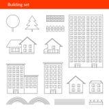 Los edificios enrarecen iconos Línea del vector de Fotos de archivo libres de regalías