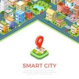 Los edificios isométricos planos llaman por teléfono al vect elegante del app de la ciudad Foto de archivo libre de regalías