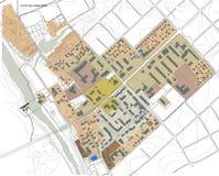 Los edificios mecanografían, 2.o esquema de la pequeña ciudad Fotografía de archivo libre de regalías