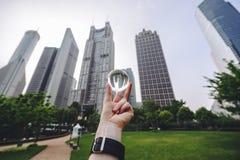 Los edificios modernos en Lujiazui financian el distrito, Shangai, China Imágenes de archivo libres de regalías
