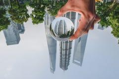 Los edificios modernos en Lujiazui financian el distrito, Shangai, China Foto de archivo libre de regalías