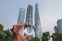 Los edificios modernos en Lujiazui financian el distrito, Shangai, China Imagenes de archivo
