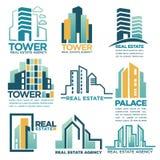 Los edificios reales de los rascacielos del vector de la agencia inmobiliaria o de la compañía contienen plantillas de los iconos Imagen de archivo