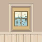 Los edificios ven a través de la ventana Foto de archivo libre de regalías