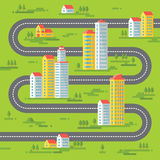 Los edificios y camino - vector el ejemplo del fondo en diseño plano del estilo Edificios en fondo verde Imágenes de archivo libres de regalías