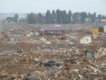 Los efectos espantosos del tsunami en Japón Foto de archivo