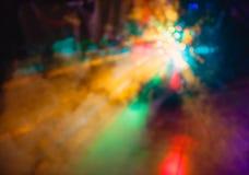 Los efectos especiales de la luz del club del disco del color y el laser muestran imagen de archivo