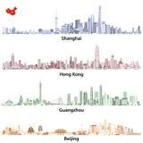 Los ejemplos abstractos del vector de los horizontes de Shangai, de Hong Kong, de Guangzhou y de Pekín con China trazan