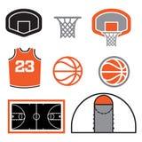 Ejemplo de los elementos del baloncesto ilustración del vector
