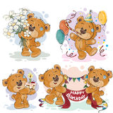 Los ejemplos del clip art del oso de peluche le desean un feliz cumpleaños Imágenes de archivo libres de regalías