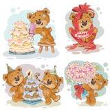 Los ejemplos del clip art del oso de peluche le desean un feliz cumpleaños Imagen de archivo