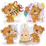 Los ejemplos del clip art del oso de peluche le desean un feliz cumpleaños Fotografía de archivo