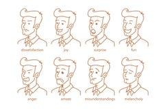 Los ejemplos dibujados mano del diseño del garabato del vector del estilo alinean en estilo de la historieta Sistema de las emoci stock de ilustración