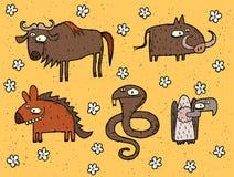 Los ejemplos dibujados mano del grunge fijaron del ñu, facoquero, hiena, cobr Foto de archivo