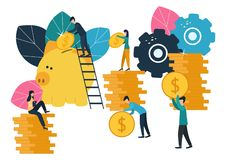 Los ejemplos planos del vector, hucha grande en el fondo blanco, servicios financieros, banqueros hacen el dinero del trabajo, de ilustración del vector