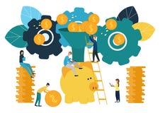 Los ejemplos planos del vector, hucha grande en el fondo blanco, servicios financieros, banqueros hacen el dinero del trabajo, de stock de ilustración