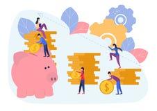 Los ejemplos planos del vector, hucha grande en el fondo blanco, servicios financieros, banqueros hacen el trabajo, stock de ilustración