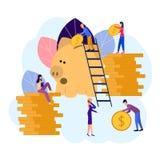 Los ejemplos planos del vector, hucha grande en el fondo blanco, servicios financieros, banqueros hacen el trabajo, la acumulació stock de ilustración
