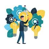 Los ejemplos planos del vector, reunión de reflexión, concepto del negocio para el trabajo en equipo, búsqueda para las nuevas so libre illustration