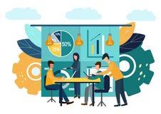 Los ejemplos planos del vector, reunión de reflexión, concepto del negocio para el trabajo en equipo, búsqueda para las nuevas so stock de ilustración
