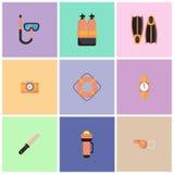 Los ejemplos son iconos del equipo de la zambullida stock de ilustración